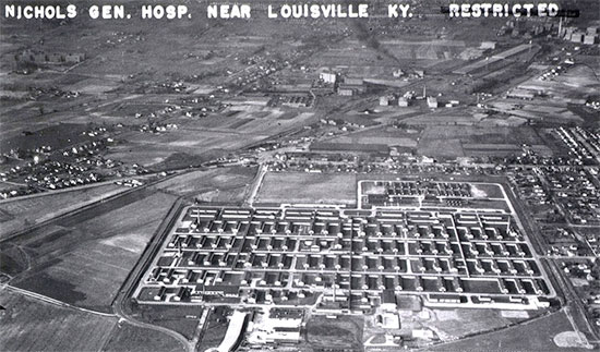 Aerial view of Henry J. Nichols General Hospital, Louisville, Kentucky, where the 25th General Hospital was officially activated June 10, 1943.
