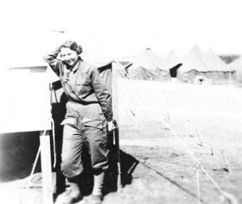 Picture illustrating Captain Hattie E. Pugh, Principal Chief Nurse, 25th General Hospital, during the organization's stay at Stockbridge, England, January-March 1944.