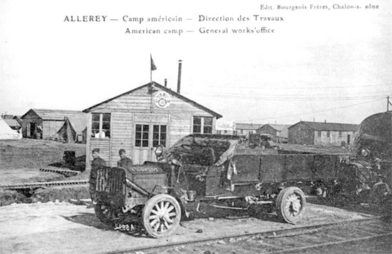 Vintage French postcard illustrating part of the A.E.F. hospital center at Allerey-sur-Saône, France, in July 1918, where Base Hospital No. 25 was established.