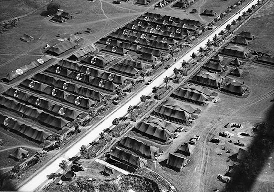 Aerial view of the 27th Evacuation Hospital installations at Starnberg, Germany, where the hospital operated from May 8 until June 10, 1945. Courtesy UIC