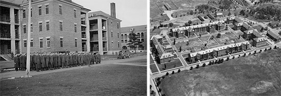 "Scenes illustrating Fort Devens, Ayer, Massachusetts. Left: formation ready for drill in front of one of the large buildings at Fort Devens, 1940-1941. Right: aerial view of ""Vicksburg Square"", Fort Devens 1942."