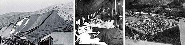 Different scenes illustrating the Maddaloni, Italy, setup where the 27th Evacuation Hospital remained from May 15 until August 2, 1944. Left: partial view of ward tents. Center: Nurses attend patients in one of the post-operative wards. Right: aerial view of the site where the the Hospital was established, and started receiving casualties as from May 22, 1944. Courtesy UIC.