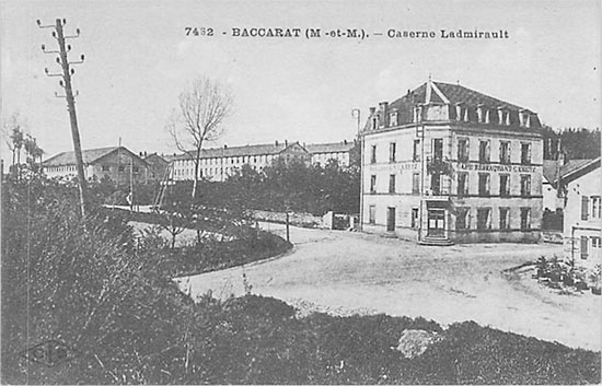 Vintage postcard illustrating part of the buildings of the Caserne Ladmirault, Baccarat, France, which would twice become home for the 27th Evacuation Hospital.