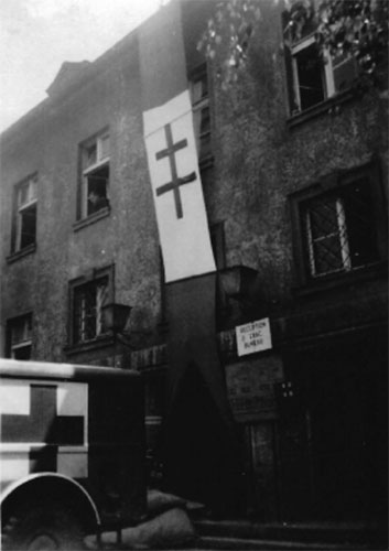 Exterior view of one of the buildings used by the 623d Med Clr Co and the 108th Evacuation Hospital in Rennes, France. Photograph taken August 1944.Courtesy Christine Smith