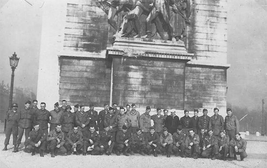 Group photograph showing personnel of the 623d Medical Clearing Company during a visit to Paris.