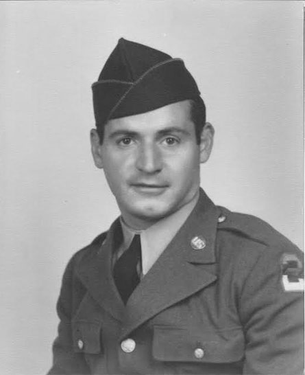 Studio portrait of Corporal John A. Wood, Jr. (ASN:37404670), who served with the 623d Medical Clearing Company during WW2.Courtesy Christine Smith