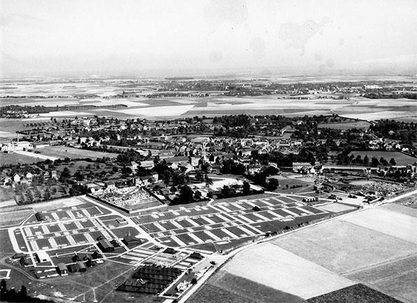 Partial aerial view of the 298th General Hospital installations in France.