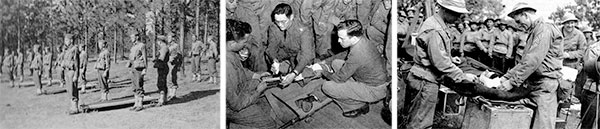 Some aspects of training while the 298th General Hospital was stationed at Camp Joseph T. Robinson, Zone of Interior. Left: Ready for Litter Drill. Center: How to perform a Leg Splint. Right: How to treat and bandage a Head Wound.