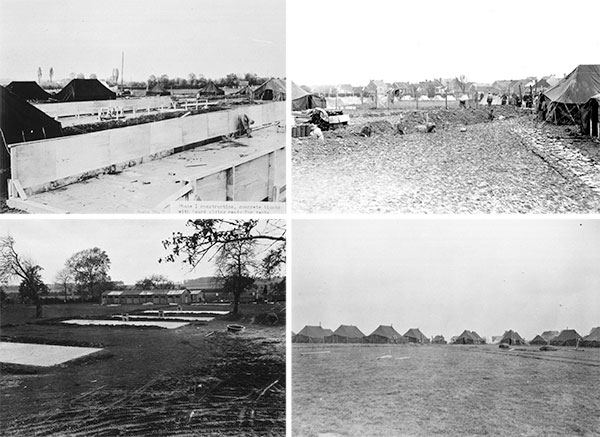 Photos taken during the different construction phases of the 298th General Hospital, at Alleur, near Liège, Belgium. Top Left: Concrete blocks (floors) and wooden board sidings are being erected. Top Right: Prisoner of War labor details at work during the early construction phase of the Hospital. Bottom Left: Concrete floors ready for construction and surgery buildings in the background. Bottom Right: Overall view of the 298th General Hospital's tented camp in the distance.