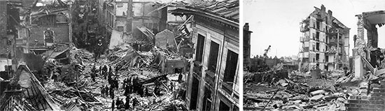 Some views illustrating the enormous destructions caused by the flying bombs, V-1 and V-2. Left: 1944, destruction caused by V-1 flying bombs in Antwerp, Belgium. Center: 1945, destruction caused by a V-2 rocket in London, England.