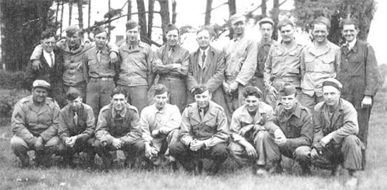 Vintage photo illustrating a group of Enlisted Men of the 298th General Hospital and some of the British civilians working at Frenchay Hospital.