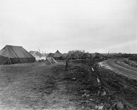 Partial view of the 298th General Hospital setup at Alleur, near Liège, Belgium. There still is a lot of work to do...