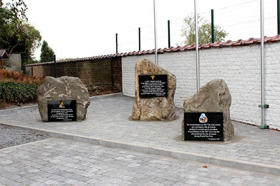 Photo illustrating a special monument in Liège, Belgium, dedicated to the 298th General Hospital, unveiled on 21 September 2012 during an official ceremony.