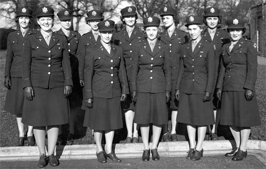 Vintage photo illustrating a group of Army Nurse Corps Officers of the 298th General Hospital while the unit was operating in the United Kingdom.