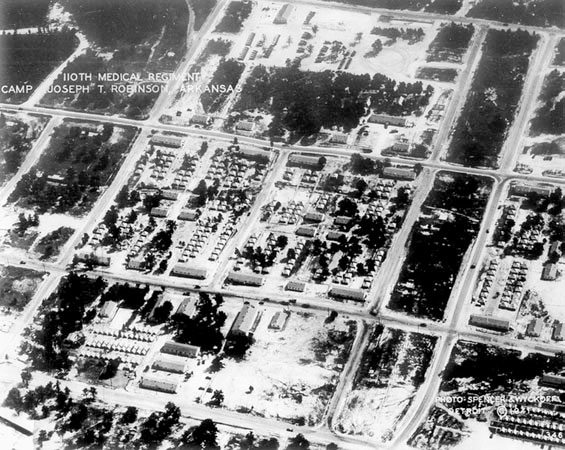 Partial aerial view of Camp Joseph T. Robinson, Little Rock, Arkansas, where the 298th General Hospital was activated.