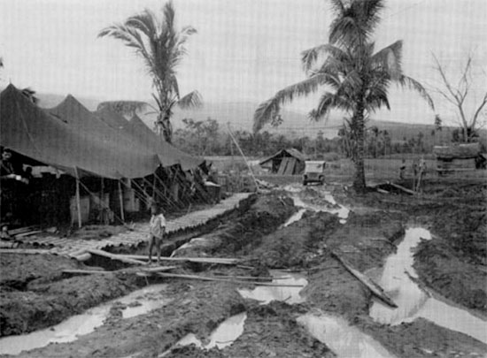 Partial view of the 116th Station Hospital, somewhere on Leyte, Philippine Islands, 17 December 1944.
