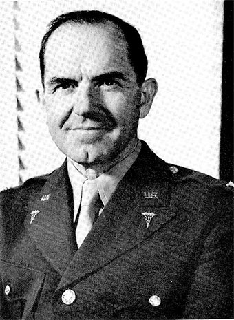 Portrait of Colonel William A. Hagins, MC, Sixth United States Army Surgeon (replaced Colonel John Dibble, MC, who died in a plane crash 7 February 1943).