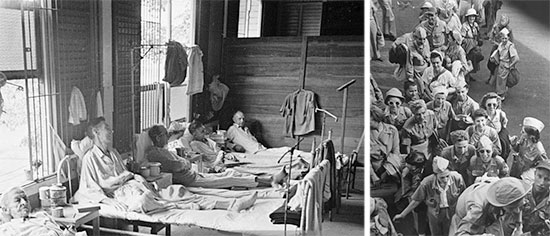 Left: Civilian internees, former captives of the Japanese, receive the necessary treatment and care at one of the Hospitals set up in Manila, prior to evacuation to the ZI. Right: US Army Nurses recently liberated from Japanese captivity, board a plane that will return them to the United States.