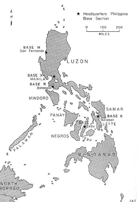 Map illustrating the different Bases in the Philippine Islands, with Headquarters and Base X combined in Manila, the capital city.