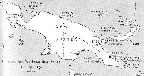 Map illustrating the different Bases in New Guinea, with Headquarters established at Oro Bay (Base B). Colonel Emmett B. Litteral, MC, (CO, 80th Gen Hosp) was appointed Base B Commanding Officer from 4 September 1944 to 1 January 1945, after which he returned to his previous unit, reassuming command of the Hospital. He was succeeded by Colonel V. L. Bolton, MC, as Commanding Officer of Base B. The 80th General Hospital was located at Base A, Milne Bay, New Guinea.