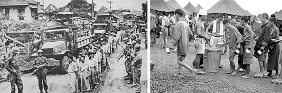 Left: Japanese Prisoners of War are being regrouped in Manila, prior to being moved to a PW enclosure. Right: Japanese PWs are being fed at Prison Camp No. 1, on Luzon, Philippine Islands, April 1945.