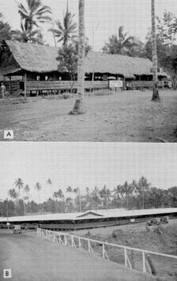 Separate views of New Guinea Base installations. Headquarters. Top (A), Base A, Milne Bay, Headquarters building, 3 January 1944. Bottom (B), Base A, Milne Bay, Operations building, 5 October 1944.