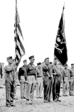 Picture of the Color Guard during formation at Camp Barkeley, Abilene, Texas, where the 189th General Hospital was activated 20 August 1944.