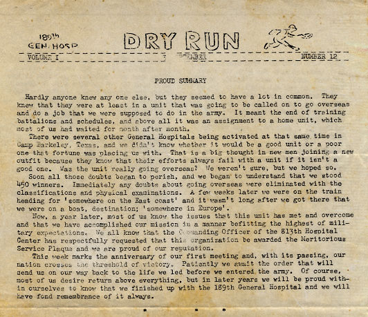 "Partial copy of ""Dry Run"", the newspaper edited and published by the 189th General Hospital (this particular sample is dated 3 September 1945)."