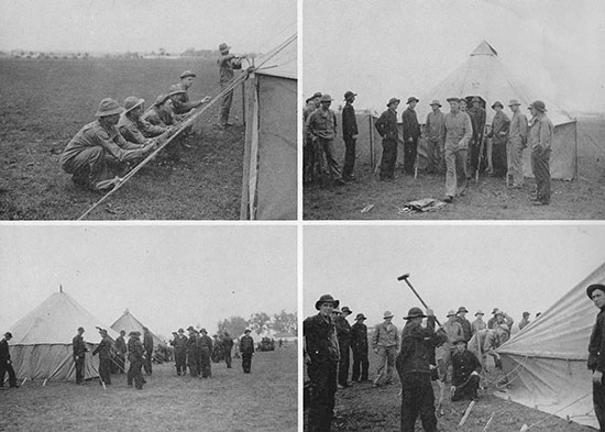 Training at Camp Barkeley. These particular scenes illustrate tent pitching; the type used is the Tent, Pyramidal, M-1934, Khaki, Stock Number 24-T-222, with a maximum capacity for 8 men (w/o the stove).