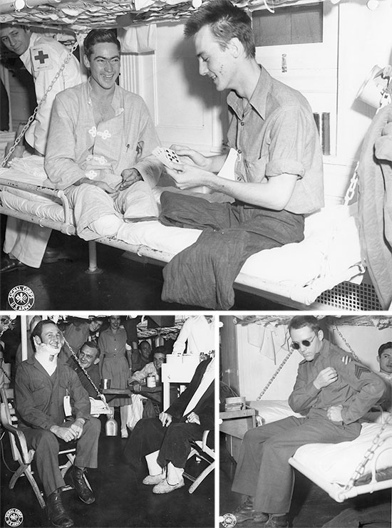 Miscellaneous war photographs illustrating patients aboard US Army Hospital Ships.