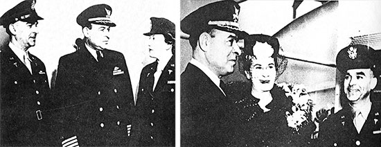 Official photographs taken during the Hospital Ship's Commissioning. Left: Lt. Colonel Vincent J. Amato (Commanding Officer, 200th Medical Hospital Ship Complement); Captain John W. Kirchner (Master, USAHS Louis A. Milne); Captain Geneviève G. Thorpe (Chief Nurse, 200th Medical Hospital Ship Complement. Right: Captain John W. Kirchner (Ship's Master); Mrs. Sue Madera Milne (Widow, Colonel Louis A. Milne); Lt. Colonel Vincent J. Amato (CO, 200th Medical Hospital Ship Complement).