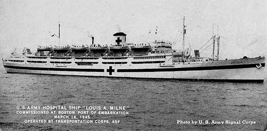 Official photograph illustrating the US Army Hospital Ship Louis A. Milne, taken after her commissioning, Friday, 16 March 1945, Boston, Massachusetts.