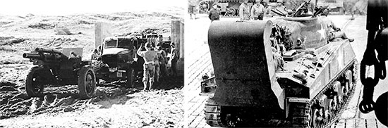 Pictures illustrating pre-Invasion Exercises in Devonshire. Left: Unloading a 2 1/2-ton cargo truck at a concrete LCT (due to a shortage of landing crafts, rough concrete models were built, enabling vehicle drivers to train properly for loading and unloading). Right: M-4 Sherman reversing onto a waiting LST. Of special interest is the armored vehicle's deep wading gear.