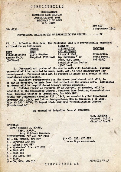 "Copy of vintage document dated 1 September 1944 indicating the conversion of the 313th Station Hospital to a ""Rehabilitation Center""."