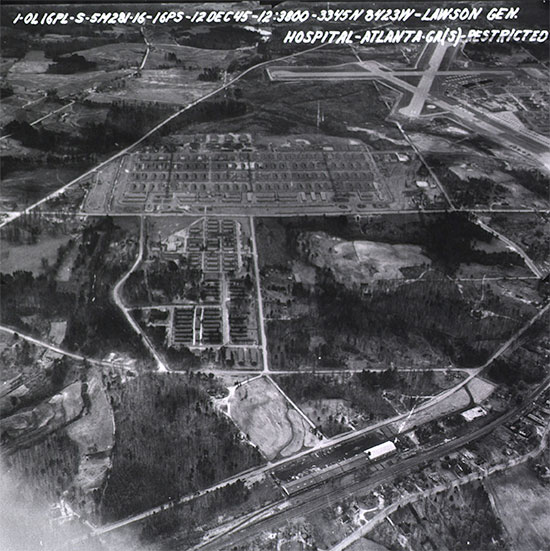 Aerial view of Lawson General Hospital (picture dated 12 Dec 45), Atlanta, Georgia, which furnished the initial cadre to help organize the 313th Station Hospital.