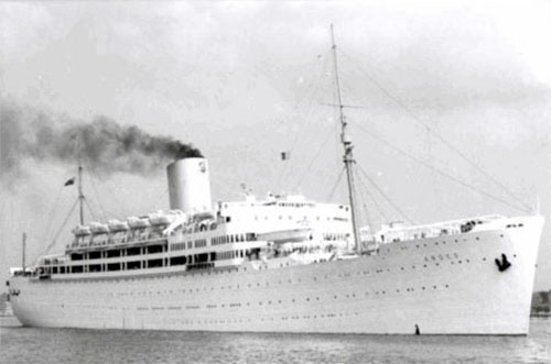 "Picture illustrating HMT ""Andes"" (still in civilian guise), which carried the 60th Field Hospital overseas and to the United Kingdom where she arrived May 17, 1944."