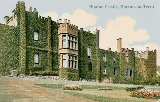 "Vintage postcard illustrating ""Bladon Castle"", Burton-on-Trent, Staffordshire, England."