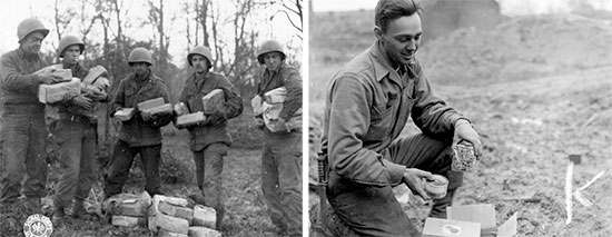 26 November 1944, Bastogne, Belgium. Left: Unidentified GIs receive bundles from home while stationed in Bastogne, a welcome treat for the coming Christmas. Right: 3 December 1944, another soldier opens a food package received from his next-of-kin in the Zone of Interior.