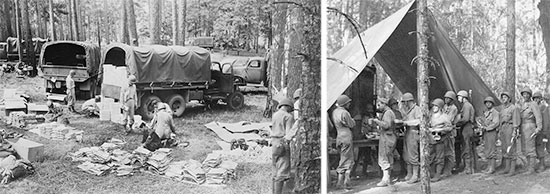 Aspects of Training in the Zone of Interior. Left: A Quartermaster Corps supply unit delivers items of equipment to troops in the field. Right: Servicemen line up for chow.