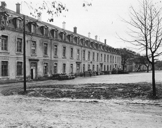 Exterior view of wards of the 50th General Hospital, Commercy, France