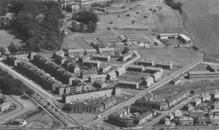 Aerial view of Cowglen Hospital (located on the outskirts of Glasgow) where the 50th General Hospital
