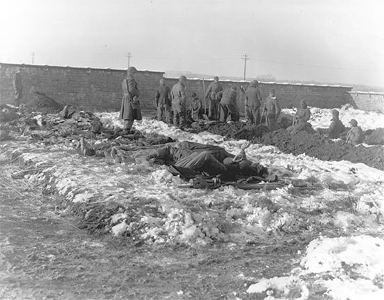 December 1944, Bastogne Perimeter, Belgium. German Prisoners of war dig graves to bury American dead.