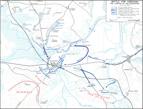 Map describing the Battle for Carentan, France, June 8-12, 1944.