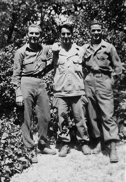 Personnel of the 60th Field Hospital. From L to R: Alfred J Francis, 33594442; Vincent Dendrea, 32959516; Robert J Carroll,  32605096 (all members of the Second Hospitalization Unit).
