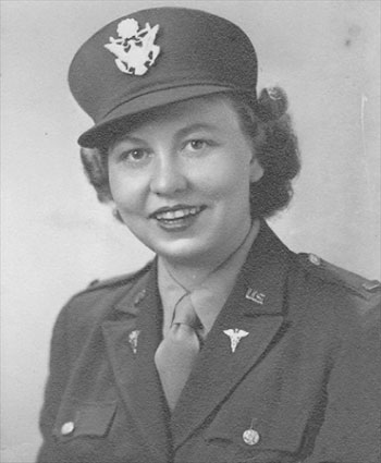 Studio portrait of First Lieutenant Frances Cardozo Jones, R-676, 50th General Hospital.