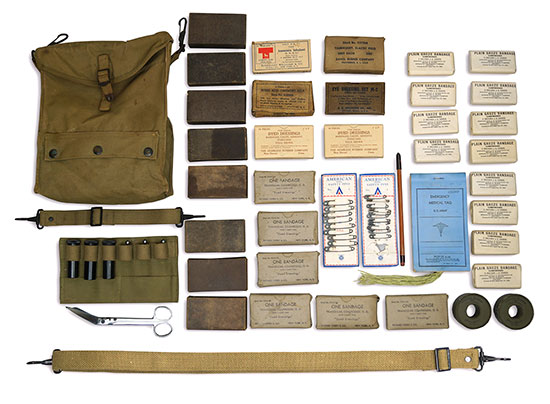 Illustration showing the contents of Item # 9710550 – Kit, First Aid, Military Police. Click to enlarge.